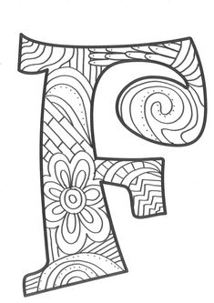 The super original mandaletras learn the alphabet - Educational Images Free Adult Coloring Pages, Cat Coloring Page, Alphabet Coloring Pages, Alphabet Art, Coloring Pages To Print, Alphabet And Numbers, Colouring, Doodle Art Drawing, Pencil Art Drawings