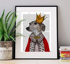 Greyhound Queen Art Print Art Giclee Print Acrylic Painting Illustration Greyhound Print wall art wall decor Wall Hanging dog print