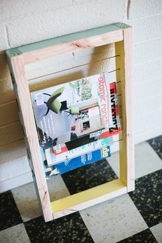 DIY Magazine rack--this would be great to hang in my studio for inspiration; I'm a very visual person so I need to have things in sight or I forget about them.