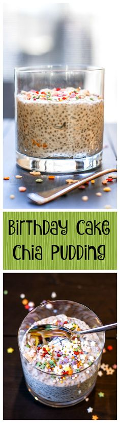 Birthday Cake Chia Pudding. OMG -- this recipe is a party in your mouth. It's easy, soooo delicious, and so healing. Make it in advance and have the best breakfast ever!