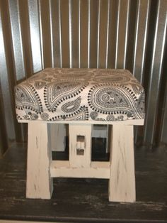 Vintage Foot Stool Shabby Chic Wood Stool White Rustic Cottage Chic Paisley Black Cushioned Step Stool Shabby Decor by OutOfMyShabbyMind on Etsy