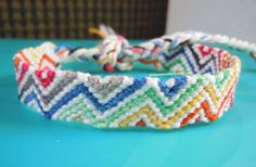 Rainbow Ombre Zig Zag Friendship Bracelet  Ready by PickSomeColors, $5.00