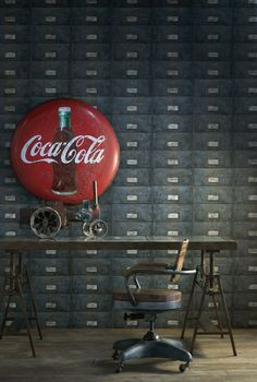 Coca Cola signage on large metal file cabinets and old school 1940's chair, industrial look.