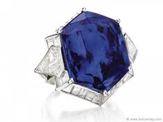 Cartier's dazzling hexagonal-cut sapphire ring bounded by diamonds makes all other rings sound lacklustre.