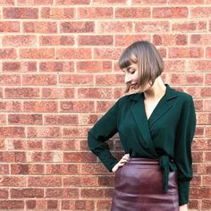 The Magnificent Thread: Pretty Mercerie Sayan Blouse Pretty Mercerie, Red Brick Walls, Wall Backdrops, Red Bricks, Look Chic, Leather Skirt, Blazer, Skirts, Fabric