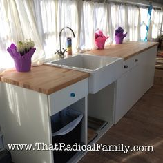 IKEA cabinets in a school bus conversion School Bus Camper, School Bus House, Rv Bus, Bus Living, Tiny House Living, Living Room, Airstream, Bus Remodel, Converted School Bus