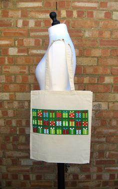 Christmas Applique Gift Bag, Applique Drawstring Bag, Christmas Shoulder Bag £7.00