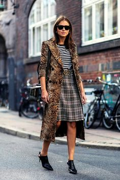Leo print coat, stripped tee, british print skirt