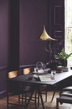 color 30 Awesome Purple Living Room Wall Color Ideas You Have To Copy Dining Room Paint Colors, Room Wall Colors, Dining Room Walls, Wall Paint Colours, Dark Dining Rooms, Dining Area, Purple Wall Paint, Purple Paint Colors, Color Walls