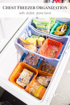 Organize your chest freezer in under half an hour with dollar store bins! Great chest freezer organization system; easy to maintain too!