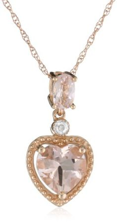 10k Rose Gold Morganite and Diamond Heart Pendant « MyMallHome.com – Closest Shopping Mall on the Internet