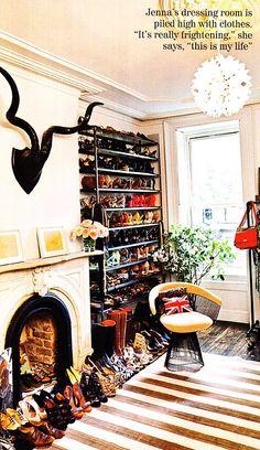Jenna Lyons // UK Vogue --- i need the vintage/sturdy/awesome shoe rack!