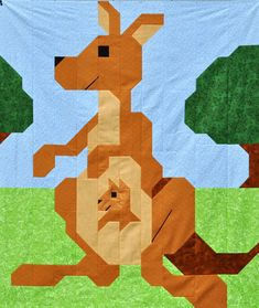 Kangaroo Baby Quilt Pattern - PDF instant download
