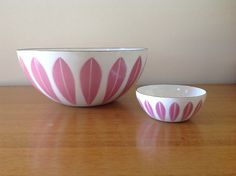 Rare CathrineHolm Pink Lotus Enamel  Bowl  9.5 by TheWelcomeTable, $525.00