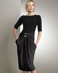 Love this black draped skirt with pockets