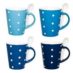 Caneca c/ colher e interior branco Poás porcelana azul