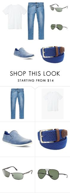 """Combinación 02"" by alfredo-barrientos on Polyvore featuring River Island, MANGO MAN, Steve Madden, Tyler & Tyler, Ray-Ban, mens, men, men's wear, mens wear y male"