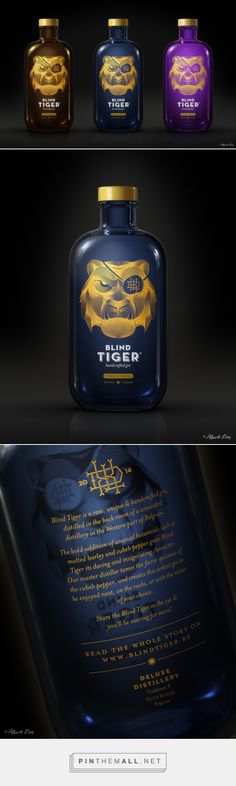 BLIND TIGER Gin on Behance by Bert Heynderickx curated by Packaging Diva PD. Just got a message from Bert it was OK to pin this awesome gin packaging.