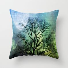 Bare Tree Moon Throw Pillow by Cullen Rawlins - $20.00