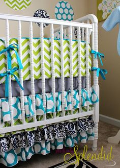 Crib Skirt Tutorial.  I LOVE the fabric/colors used too! Maybe for #2... if that ever happens