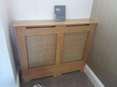 Oak veneer radiator cover with profiled oak veneered mesh