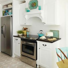simple, pretty white kitchen with turquoise accents