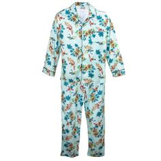 Sleep like a superhero with these Batman and Robin print pajamas. The dynamic duo is featured surfing on this hibiscus and palm tree print. This super soft set has a brushed finish for softness. The top features a button front jacket style with a notched collar and patch pocket. The pants feature an elastic waist with drawstring for a great fit.