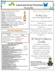 Preschool Newsletter Template | Teaching Ideas | Pinterest ...
