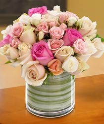 Elegance meets classic style with this stunning bouquet of pastel colored roses and spray roses in a cylinder glass vase lined with ti leaf ribbon. Rose Delivery, Same Day Flower Delivery, Tucson, Valentine's Day Flower Arrangements, Mothers Day Roses, Anniversary Flowers, Valentines Flowers, Valentine Ideas, Local Florist
