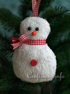 Free Fabric Christmas Craft Project - Washcloth Snowman
