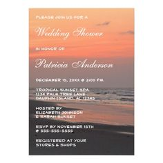 Tropical Beach Sunset Wedding Bridal Shower Vertic Custom Invitation This Tropical Bridal Shower Invitation features nature landscape photography of a beautiful tropical orange sunrise with ocean waves lapping the grey sands of the shore. This photo taken on Folly Beach, SC. Great for a coastal, ocean, sunrise, tropical, beach, destination wedding