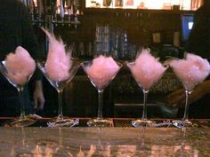 Oh my gosh, genius party idea! Cotton Candy in Martini glasses... cute and fancy for a little girl party!