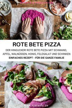 Pizza zum Selbermachen. Pizzateig mit Trockenhefe. Idee für den Pizzabelag: Gorgonzola, Apfel, Schmand, Walnüssen, Feldsalat, Schinken., Honig. Mit ein wenig Rote Bete Saft zauberst du dir den absoluten Hingucker unter den Pizzen. So gut!!! Pizza Burgers, Culinary Arts, Fine Dining, Fresh Rolls, Food Styling, Food Art, Hummus, Food Photography, Good Food