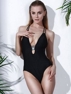 Plunging Neck Printed One Piece Swimwear