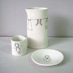 Jess Brown and artist Rae Dunn collaborated on this sweet ceramic tea set ...