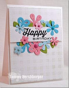 Stamp Happy: Color Throwdown #340 (Lil' Inker Designs Perky Posies stitched flower dies; MFT Gingham BG; Lil' Inker Quick Notes sentiment)