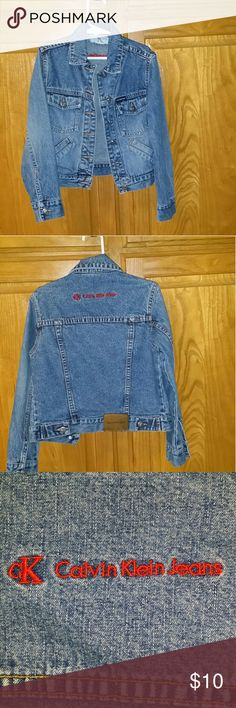 Kid's  Denim Jacket LAST CHANCE TO BUY This is a Kids Calvin Klein Jeans Jacket.  It has two adorable little pockets in front to put tiny hands in.  The size tag says s/p/c.  It is in EXCELLENT USED CONDITION. The last photo shows where a name is written into the jacket. Calvin Klein Jeans Jackets & Coats Jean Jackets