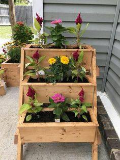3 Tier planter stand with 3 planters. Raised Planter Boxes, Cedar Planter Box, Tiered Planter, Garden Planter Boxes, Porch Planter, Vertical Planter, Wood Flower Box, Diy Flower Boxes, Wood Pallet Planters