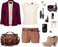 """Burgundy Blazer"" by lol5295 ❤ liked on Polyvore"