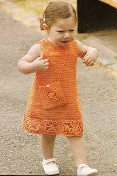 Orange Dress and Bag free crochet graph pattern