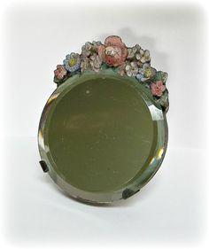 Antique Vanity With Mirror | Barbola Mirror - Vintage BARBOLA Table Vanity or Dresser Mirror 30s