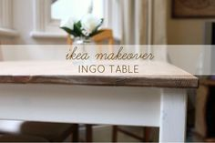 """$69 table - IKEA 'INGO' Table Hack Makeover (""""..Once the top was dry, I went over the stained wood with some clear beeswax to give it a gloss finish.."""""""