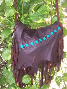 Handmade Brown with Teal  Deerskin leather purse with fringe