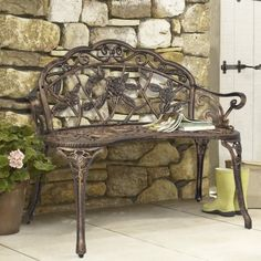 BCP Outdoor Patio Garden Bench Park Yard Furniture Cast Iron Antique Rose Bronze