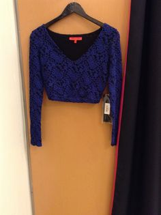 New arrivals in the store and on the floor !!! Black and blue lace crop top