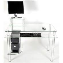 Glass & Metal Computer Desk with Monitor Pedestal