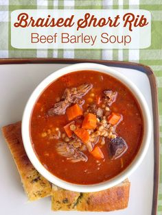 Braised Short Rib Beef Barley Soup - A very rich and satisfying version of beef barley soup that uses flavorful beef short ribs to create a deliciously deep broth along with onions and garlic.