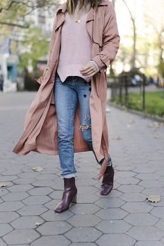 Coat: tumblr pink duster sweater pink sweater denim jeans blue jeans cropped jeans boots ankle boots