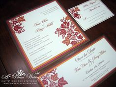 Brown, Red, Orange and Ivory wedding invitation with Fall leaves.