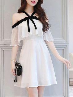 Korean fashion {I really like it! # korean fashionKorean fashion {I really like it! # korean fashionBow A-Line Chiffon Halter Girly Ruffle Sleeves Nice Dress - . - DressesBow A-Line Chiffon Halter Girly Kawaii Fashion, Cute Fashion, Fashion Clothes, Girl Fashion, Fashion Dresses, Stylish Clothes, 80s Fashion, Fashion 2020, Modest Fashion